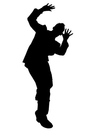 cowering: Silhouette Cowering Business Man.  Black over white  Stock Photo