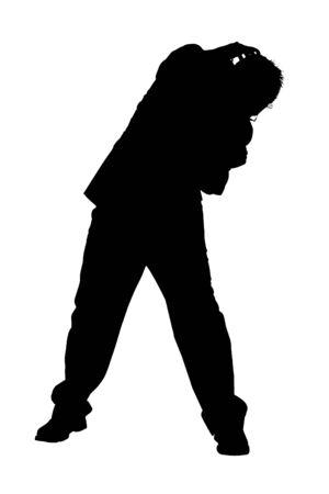 cowering: Silhouette of Cowering Business Man.