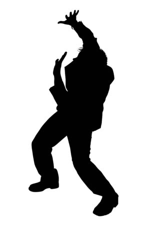 fear: Silhouette Cowering Business Man.  Black over white  Stock Photo