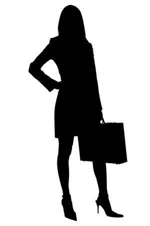 Silhouette over white . Business Woman with Briefcase.