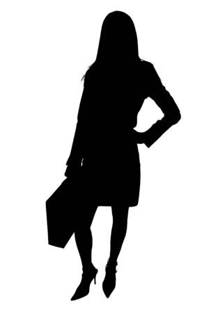 Silhouette over white. Business Woman with Briefcase.