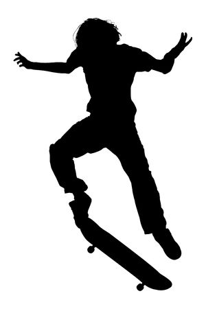 Silhouette over white. Teen Boy On Skateboard Jumping. photo