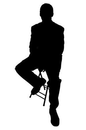 Silhouette over white. Man sitting on stool. Standard-Bild