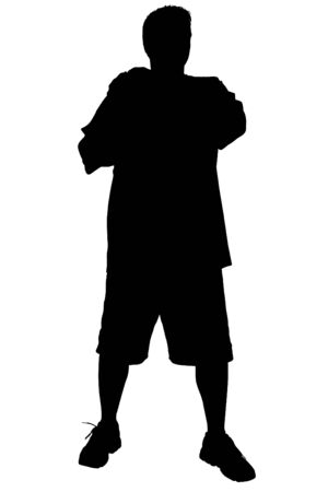 Silhouette over white. Man Standing with Arms Crossed.