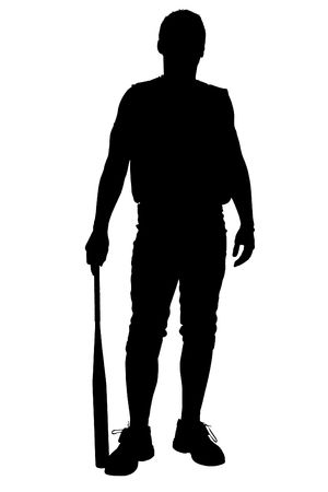 Silhouette over white. Male Softball Player. Imagens