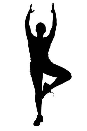 Silhouette over white. Woman Doing Yoga. Stock Photo - 3745634