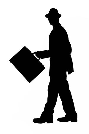 Silhouette over white.  Business Man with Briefcase and Hat Walking.