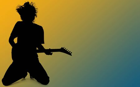 Silhouette over white with clipping path. Teen Boy Playing Guitar Over Blue Yellow Background. Stock Photo