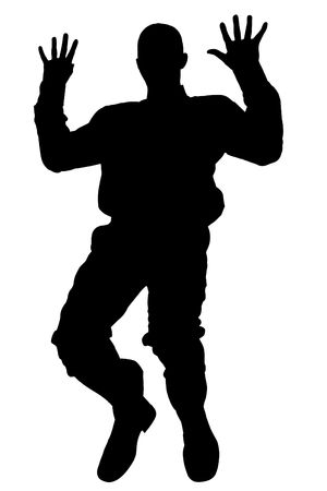 fear: Silhouette over white with clipping path. Man Falling,