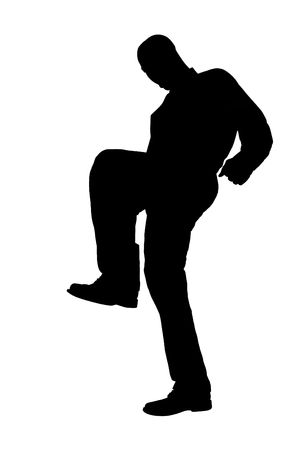 Silhouette over white with clipping path. Man Stomping.