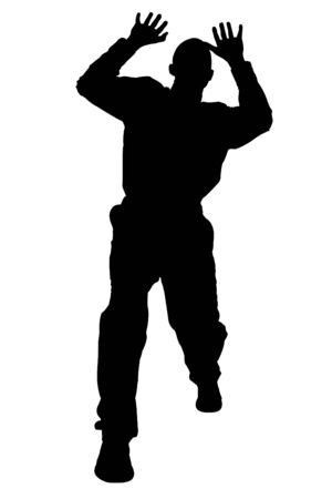 cowering: Silhouette over white with clipping path. Man Cowering. Stock Photo