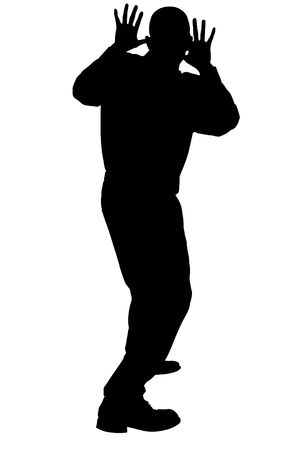 cowering: Silhouette over white with clipping path.  Man Cowering.