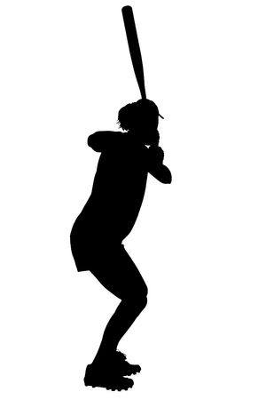 Silhouette over white with clipping path. Female Softball Player