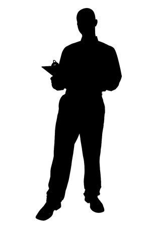 Silhouette over white with clipping path. Business Man with Clipping Board. Imagens