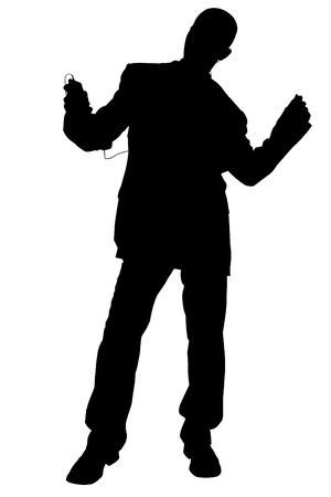 Silhouette over white with clipping path. Man in Suit Dancing Wearing Headphones. Stock Photo