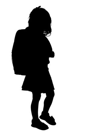 Silhouette over white with clipping path. Young Girl with Backpack.