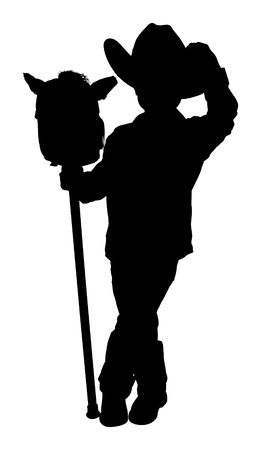 Silhouette over white with clipping path. Full body little cowboy with toy horse.