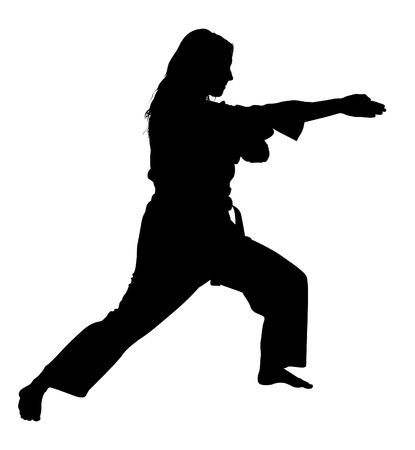 artes marciais: Silhouette over white with clipping path. Full body of woman in martial arts stance.