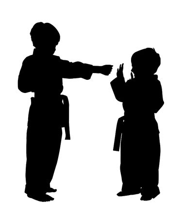 Silhouette over white with clipping path. Children doing martial arts. Standard-Bild