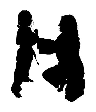Silhouette over white with clipping path. Woman helping girl with martial arts.