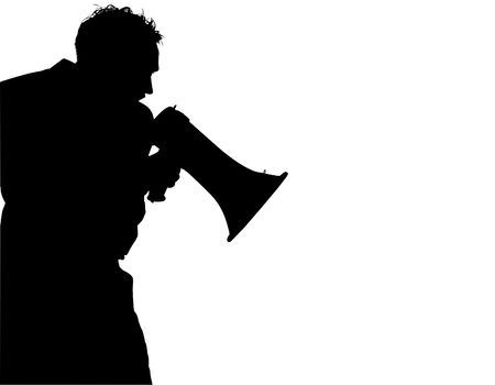 Silhouette over white with clipping path. Man with megaphone / bull horn yelling Standard-Bild