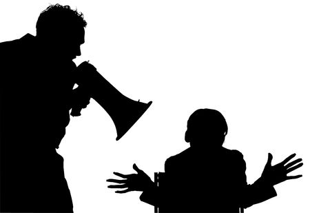 Silhouette over white with clipping path. Man with megahorn / bullhorn yelling at woman.