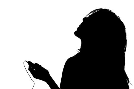 Silhouette over white with clipping path. Of young woman listening to music.