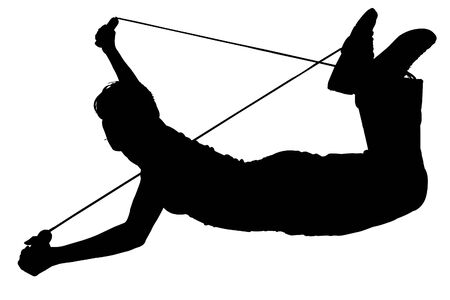 tripping: Silhouette over white with clipping path. Woman tripping over jump rope.