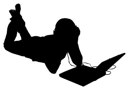 Silhouette over white with clipping path. Woman on floor with laptop and headphones. Banco de Imagens