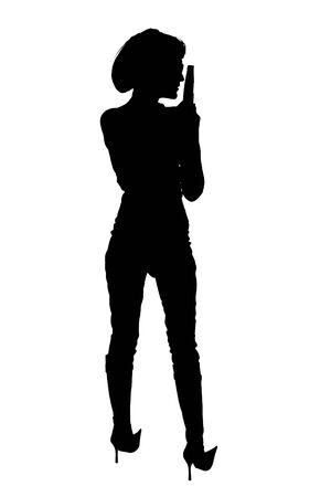 self harm: Silhouette over white with clipping path. Woman with handgun.