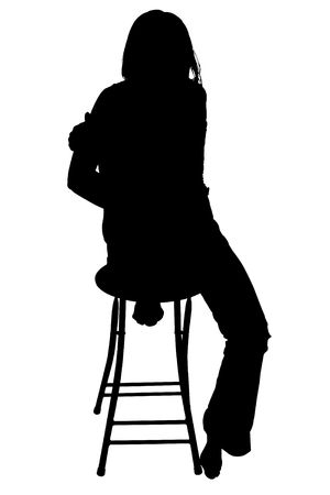 stool: Silhouette over white with clipping path. Woman sitting barefoot on stool. Stock Photo