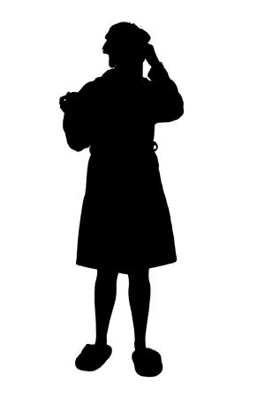 Silhouette over white with clipping path. Woman in robe and slippers blowing nose.