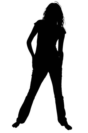 Silhouette over white with clipping path. Teen or woman barefoot standing