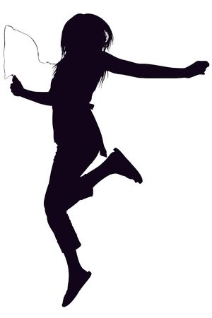 Silhouette over white with clipping path. Teen jumping while listening to digital music player, Stock Photo - 3754066