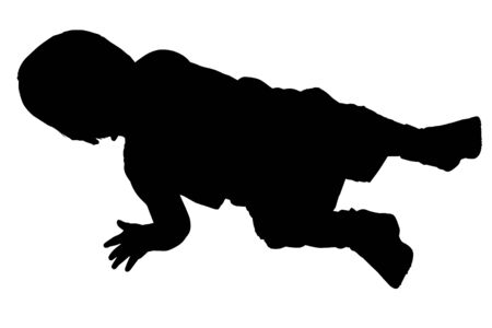Silhouette over white with clipping path.  crawling.