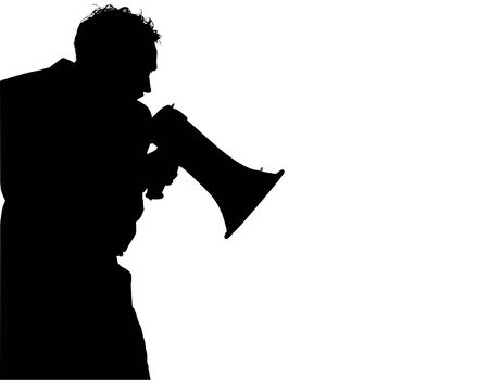 Silhouette over white with clipping path. Man with megaphone  bull horn yelling