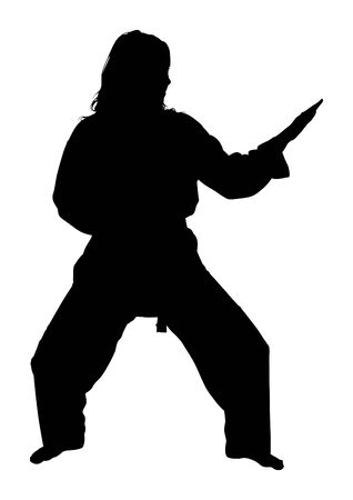 woman full body: Silhouette over white with clipping path. Full body woman doing martial arts. Stock Photo