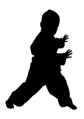 Silhouette over white with clipping path. Boy doing martial arts.