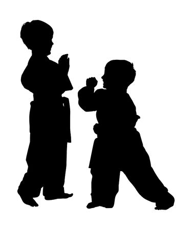 Silhouette over white with clipping path. Martial arts boys fighting, practicing, playing.
