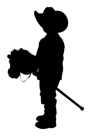 Silhouette over white with clipping path. Full body child with cowboy hat and toy horse.