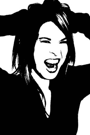 Sillouette of woman screaming. Two tone sillouette. photo