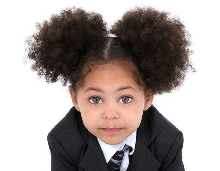 hazel eyes: Primer plano de un hermoso Little Business Woman en chaqueta Y Tie.  Enormes ojos avellano.  Grabado en estudio sobre blanco con el D Canon 20. Foto de archivo