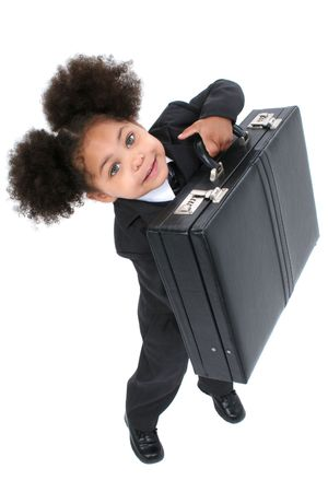 Beautiful Little Business Woman With Briefcase with big hazel eyes lifting a briefcase.