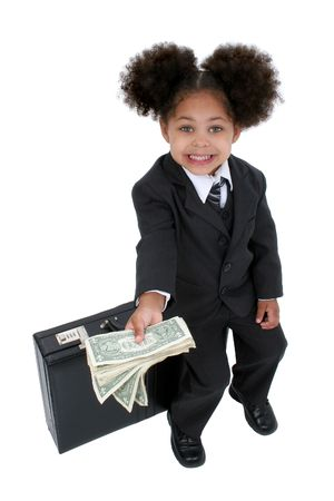 Beautiful Little Business Woman With Briefcase with big hazel eyes and a handful of cash.