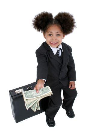 hazel eyes: Hermosa Little Business Woman With malet�n con grandes ojos avellano y un pu�ado de dinero en efectivo.