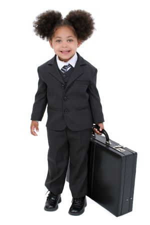 Beautiful Little Business Woman With Briefcase with big hazel eyes holding a briefcase.