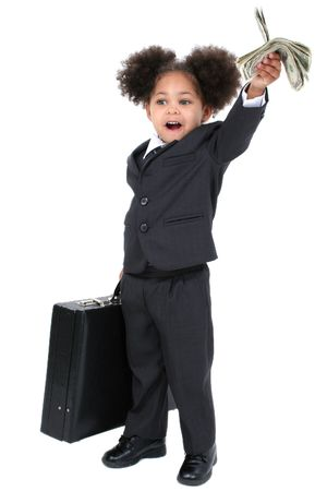 Beautiful Little Business Woman With Briefcase with big hazel eyes lifting a briefcase and a handful of money.