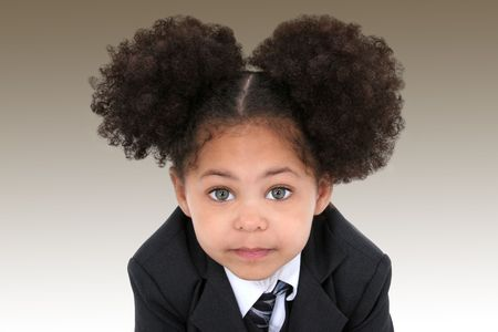 baby in suit: Close-up of a beautiful Little Business Woman In Jacket And Tie.  Huge hazel eyes.