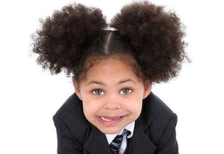 hazel eyes: Poco hermosa mujer de negocios con grandes ojos avellana usar traje, camisa y corbata. Filmada en el estudio sobre blanco con la Canon 20D. Foto de archivo