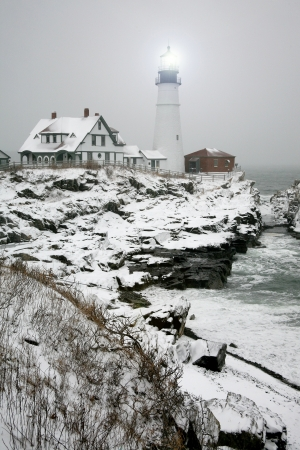 maine: Winter view of the Portland Head Light in Maine.